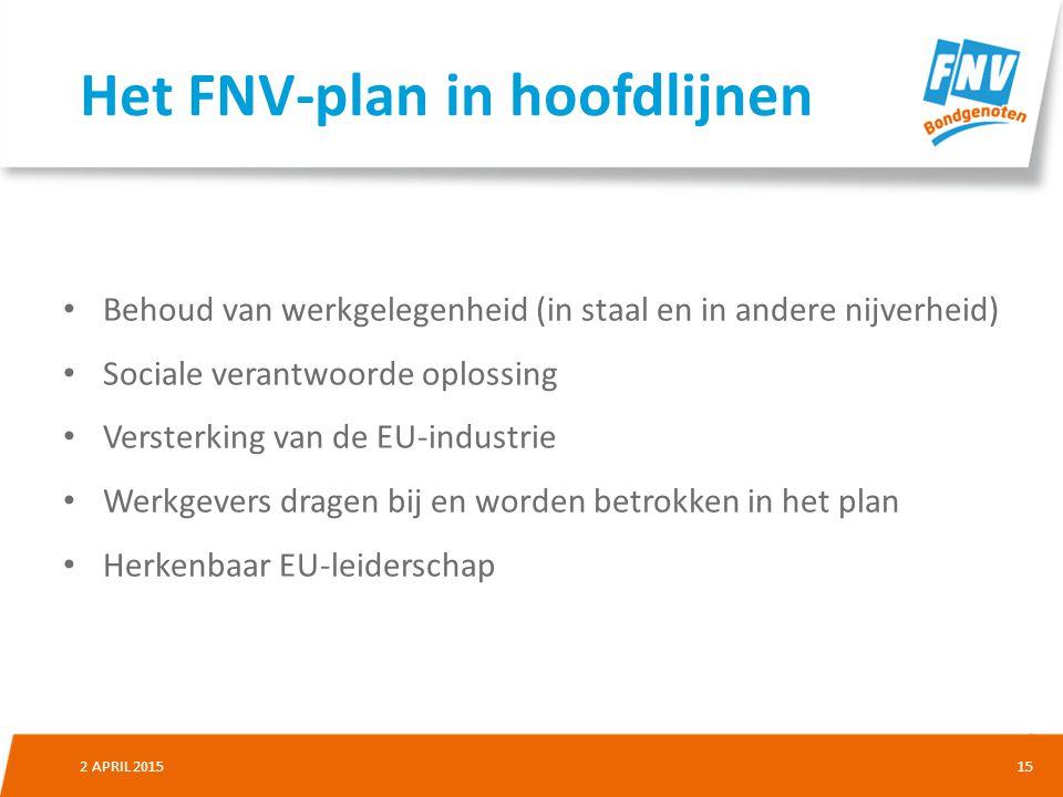 152 APRIL 2015 Behoud van werkgelegenheid (in staal en in andere nijverheid) Sociale verantwoorde oplossing Versterking van de EU-industrie Werkgevers dragen bij en worden betrokken in het plan Herkenbaar EU-leiderschap Het FNV-plan in hoofdlijnen