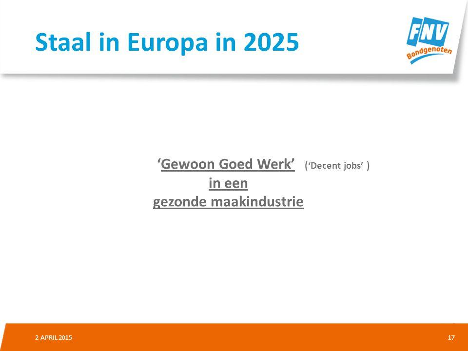 172 APRIL 2015 'Gewoon Goed Werk' ('Decent jobs' ) in een gezonde maakindustrie Staal in Europa in 2025