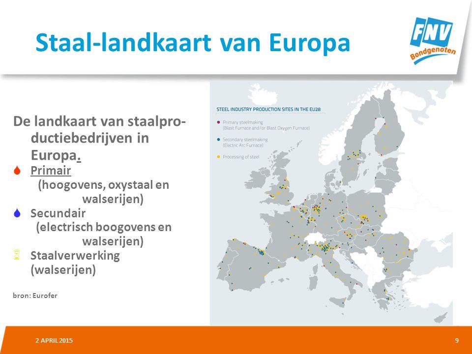92 APRIL 2015 De landkaart van staalpro- ductiebedrijven in Europa.