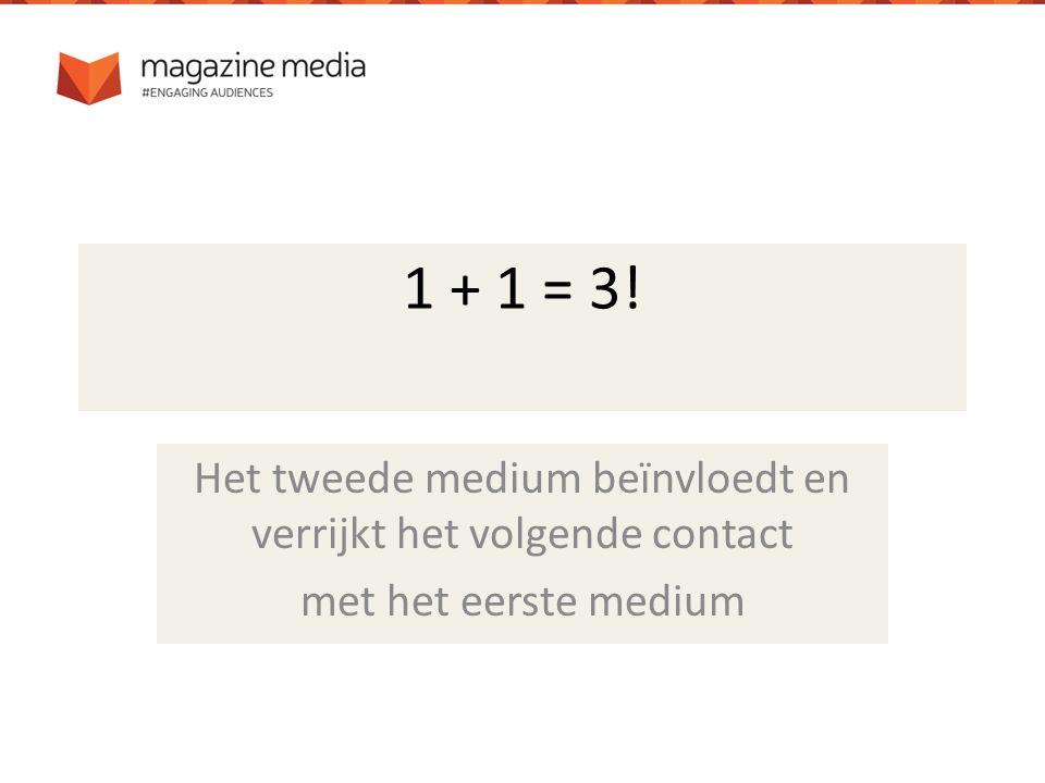 1 + 1 = 3! Het tweede medium beïnvloedt en verrijkt het volgende contact met het eerste medium