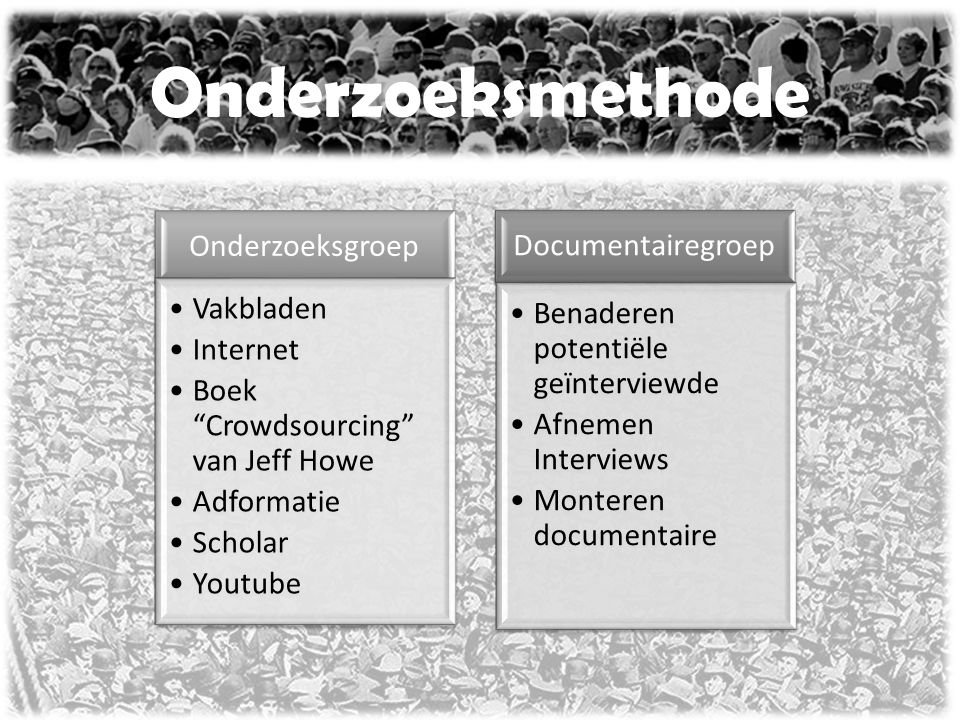 """Onderzoeksmethode Onderzoeksgroep Vakbladen Internet Boek """"Crowdsourcing"""" van Jeff Howe Adformatie Scholar Youtube Documentairegroep Benaderen potenti"""