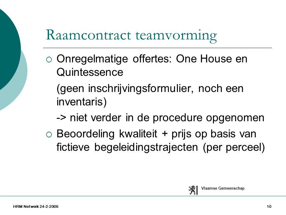 Vlaamse Gemeenschap HRM Netwerk 24-2-200610 Raamcontract teamvorming  Onregelmatige offertes: One House en Quintessence (geen inschrijvingsformulier,