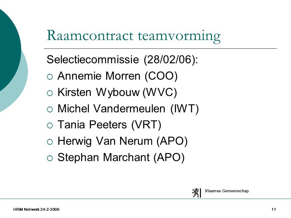Vlaamse Gemeenschap HRM Netwerk 24-2-200611 Raamcontract teamvorming Selectiecommissie (28/02/06):  Annemie Morren (COO)  Kirsten Wybouw (WVC)  Mic