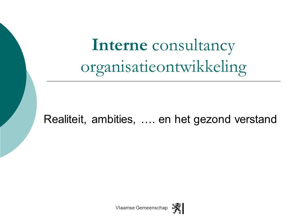 Vlaamse Gemeenschap Interne consultancy organisatieontwikkeling Realiteit, ambities, …. en het gezond verstand