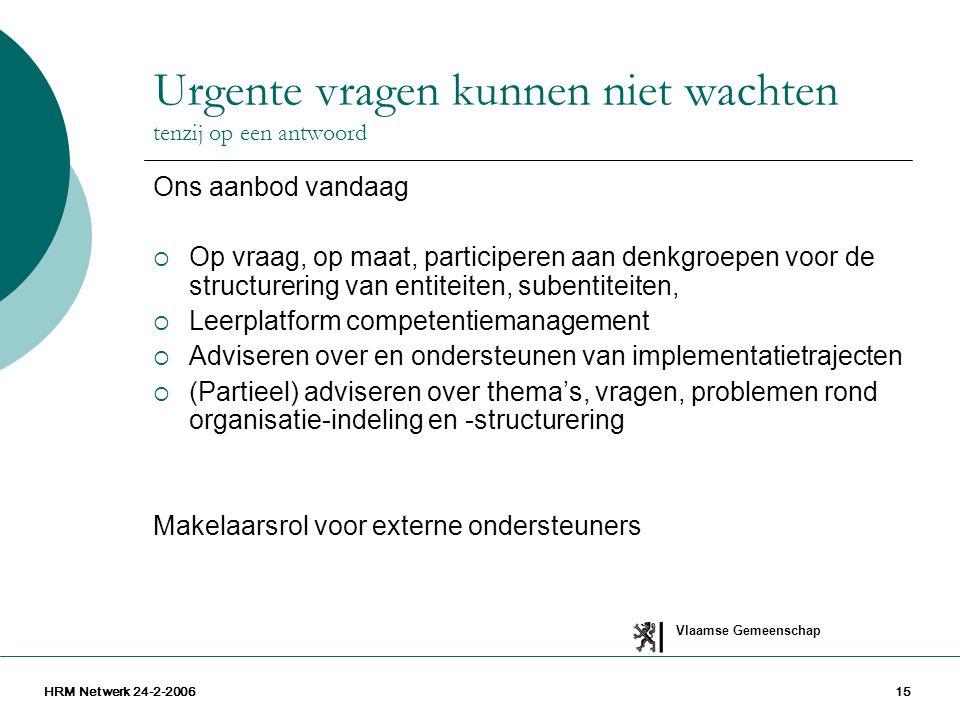 Vlaamse Gemeenschap HRM Netwerk 24-2-200615 Urgente vragen kunnen niet wachten tenzij op een antwoord Ons aanbod vandaag  Op vraag, op maat, particip