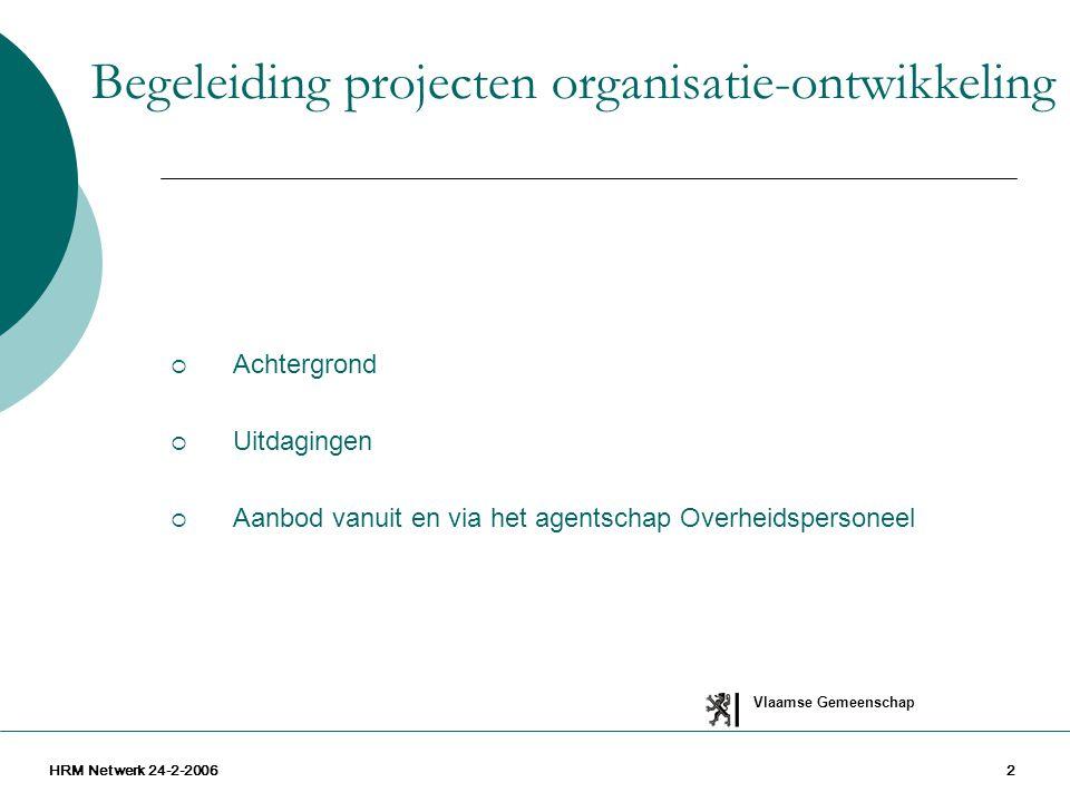 Vlaamse Gemeenschap HRM Netwerk 24-2-20062  Achtergrond  Uitdagingen  Aanbod vanuit en via het agentschap Overheidspersoneel Begeleiding projecten