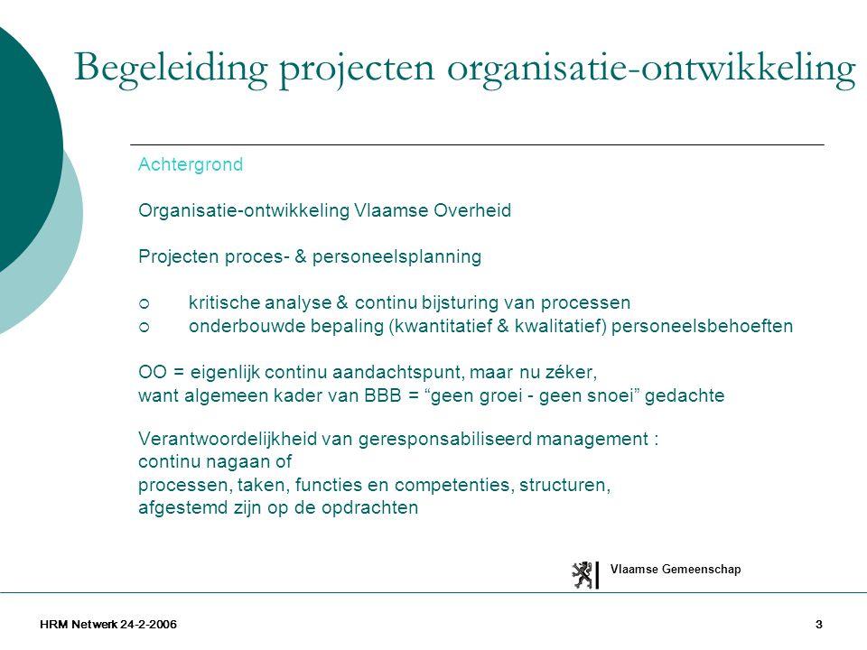 Vlaamse Gemeenschap HRM Netwerk 24-2-20063 Achtergrond Organisatie-ontwikkeling Vlaamse Overheid Projecten proces- & personeelsplanning  kritische an