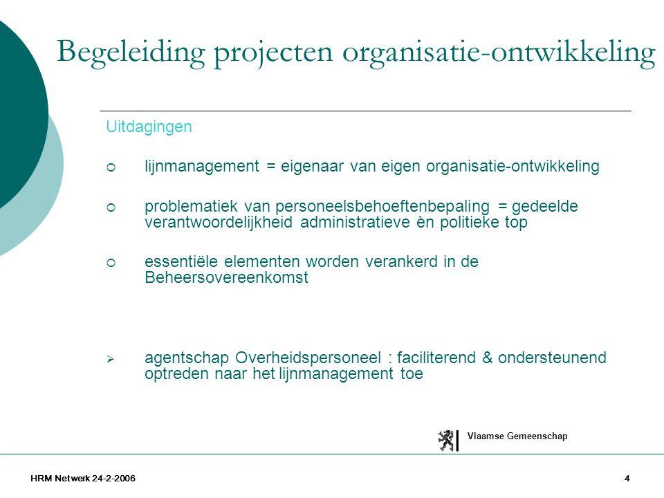 Vlaamse Gemeenschap HRM Netwerk 24-2-200615 Urgente vragen kunnen niet wachten tenzij op een antwoord Ons aanbod vandaag  Op vraag, op maat, participeren aan denkgroepen voor de structurering van entiteiten, subentiteiten,  Leerplatform competentiemanagement  Adviseren over en ondersteunen van implementatietrajecten  (Partieel) adviseren over thema's, vragen, problemen rond organisatie-indeling en -structurering Makelaarsrol voor externe ondersteuners