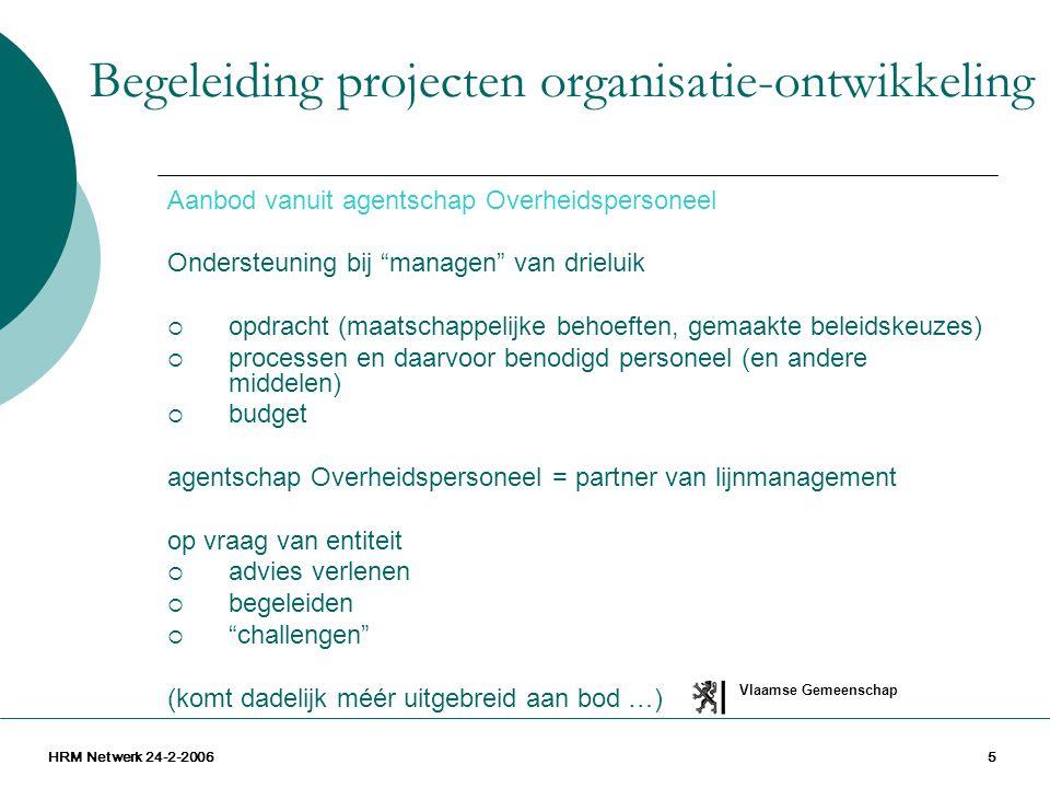 """Vlaamse Gemeenschap HRM Netwerk 24-2-20065 Aanbod vanuit agentschap Overheidspersoneel Ondersteuning bij """"managen"""" van drieluik  opdracht (maatschapp"""