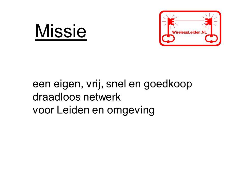 Missie een eigen, vrij, snel en goedkoop draadloos netwerk voor Leiden en omgeving