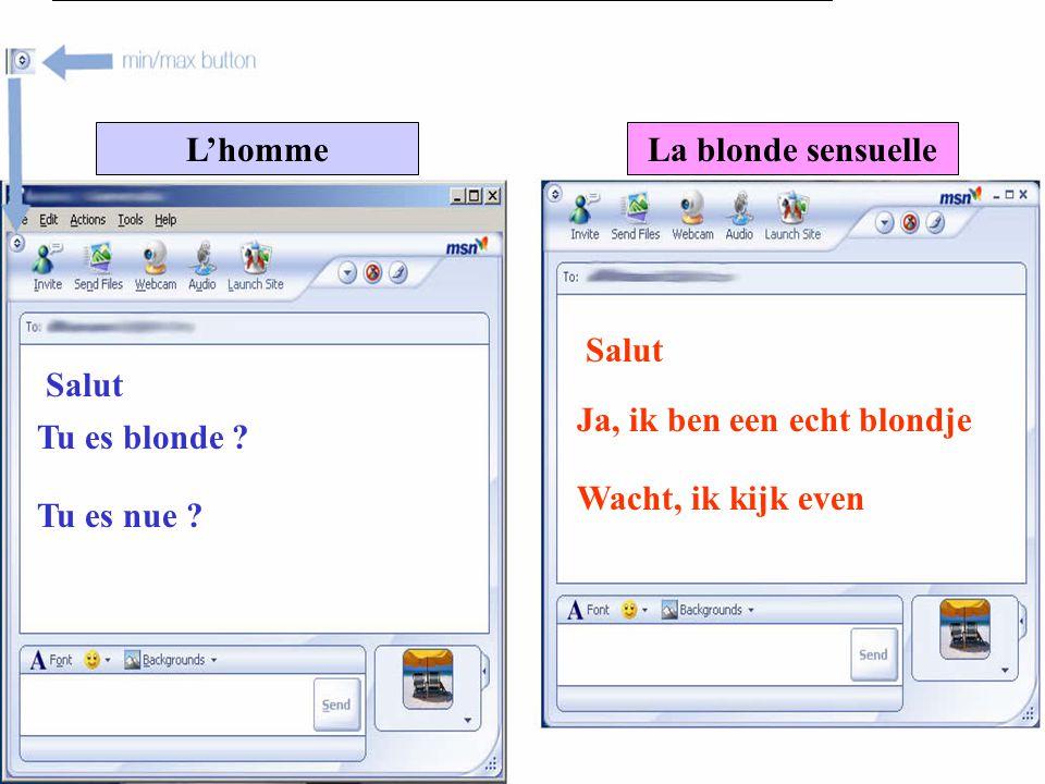L'hommeLa blonde sensuelle Salut Tu es blonde .Ja, ik ben een echt blondje Tu es nue .