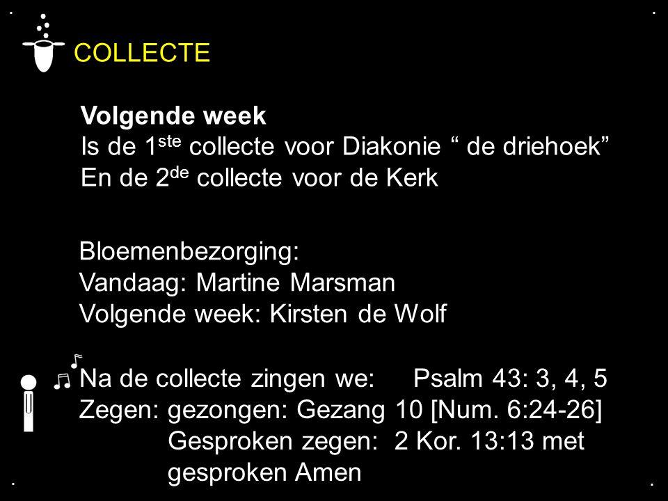 """.... COLLECTE Volgende week Is de 1 ste collecte voor Diakonie """" de driehoek"""" En de 2 de collecte voor de Kerk Bloemenbezorging: Vandaag: Martine Mars"""