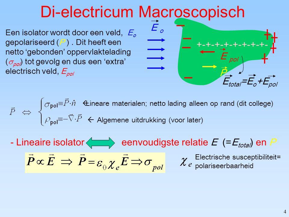 4 Di-electricum Macroscopisch  Lineare materialen; netto lading alleen op rand (dit college)  Algemene uitdrukking (voor later) Een isolator wordt door een veld, E o gepolariseerd (P ).
