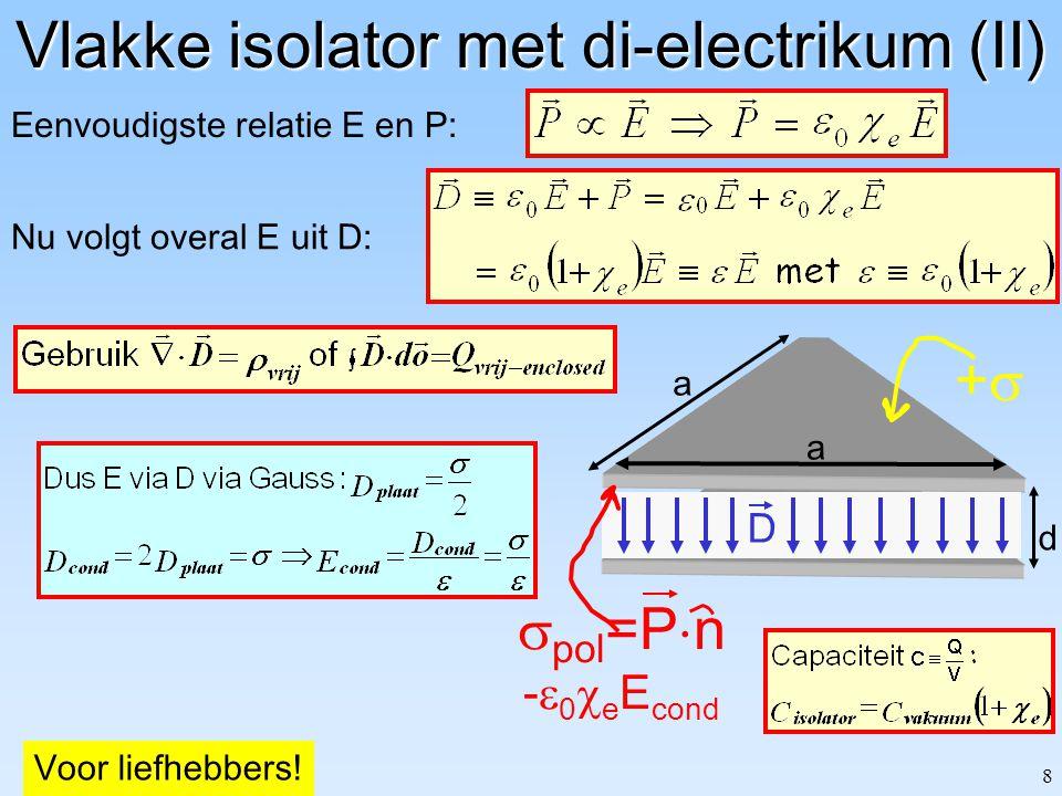8 d a a ++ Vlakke isolator met di-electrikum (II) Nu volgt overal E uit D: Eenvoudigste relatie E en P:  pol =P  n -  0  e E cond D Voor liefhebbers!