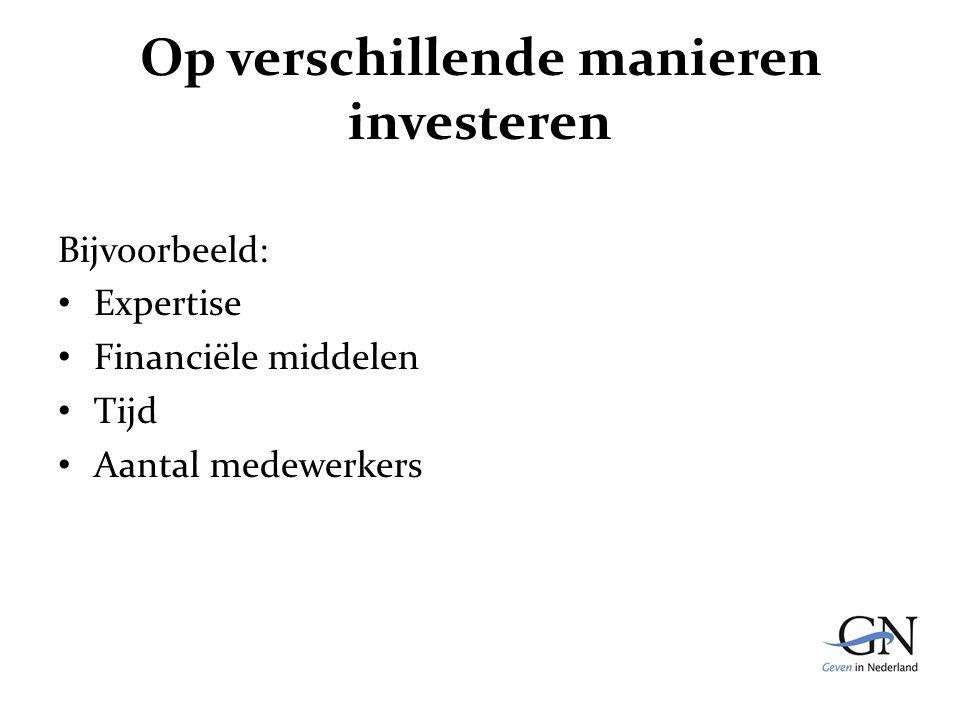 Op verschillende manieren investeren Bijvoorbeeld: Expertise Financiële middelen Tijd Aantal medewerkers