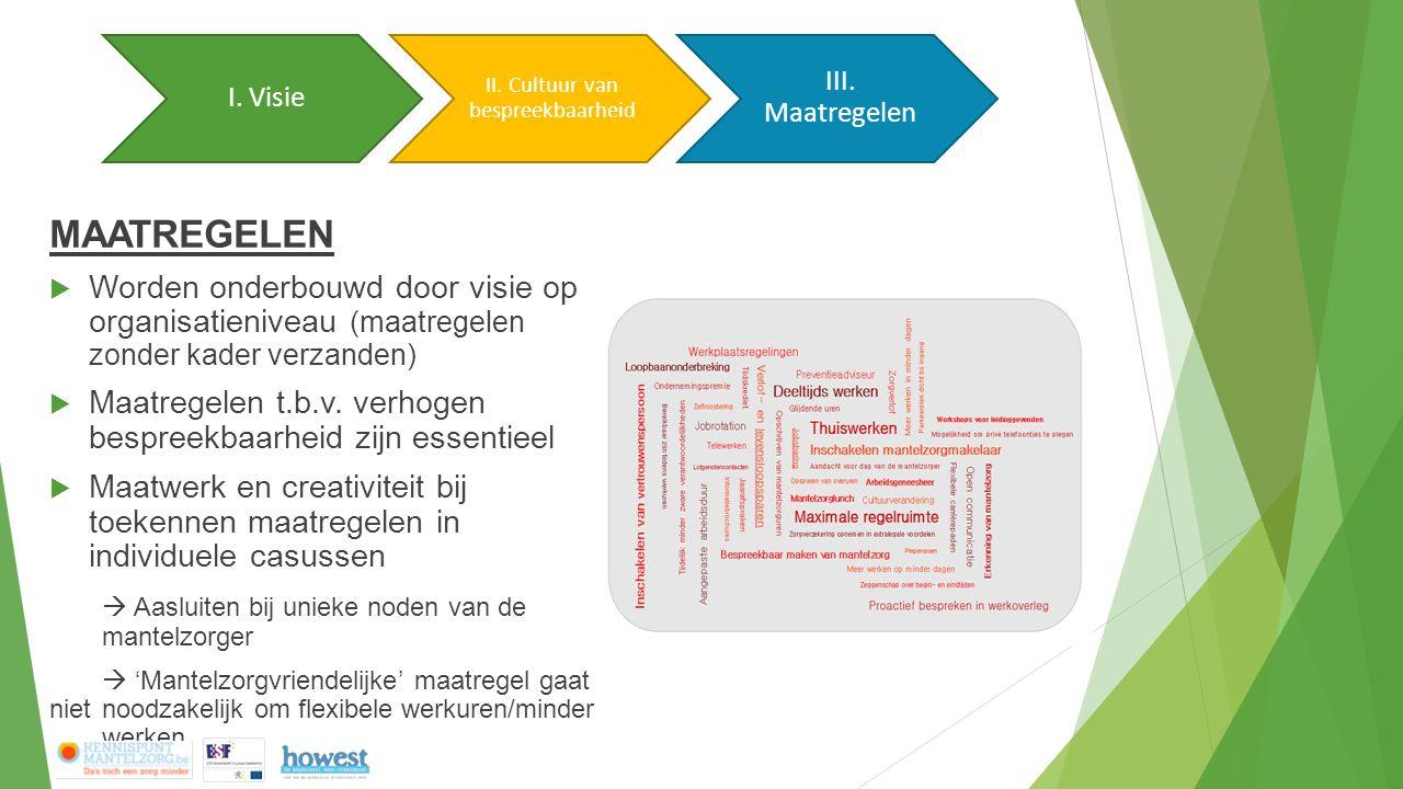 MAATREGELEN  Worden onderbouwd door visie op organisatieniveau (maatregelen zonder kader verzanden)  Maatregelen t.b.v.