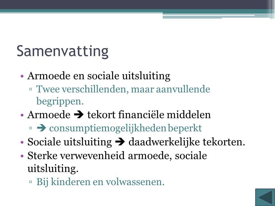 Samenvatting Armoede en sociale uitsluiting ▫Twee verschillenden, maar aanvullende begrippen. Armoede  tekort financiële middelen ▫  consumptiemogel
