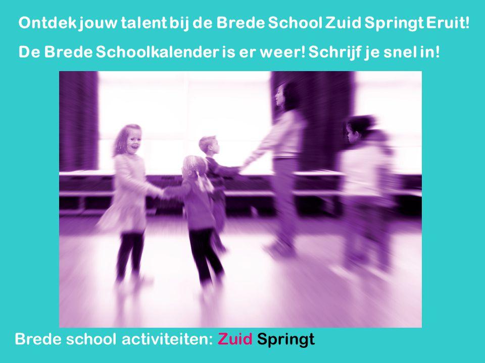 Brede school activiteiten: Zuid Springt Eruit Funkids Leren Goochelen en presenteren (groep 5-8) De jongens tegen de meisjes zomereditie (groep 6-8)