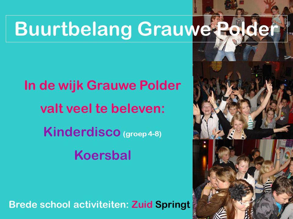 Buurtbelang Grauwe Polder In de wijk Grauwe Polder valt veel te beleven: Kinderdisco (groep 4-8) Koersbal Brede school activiteiten: Zuid Springt Erui