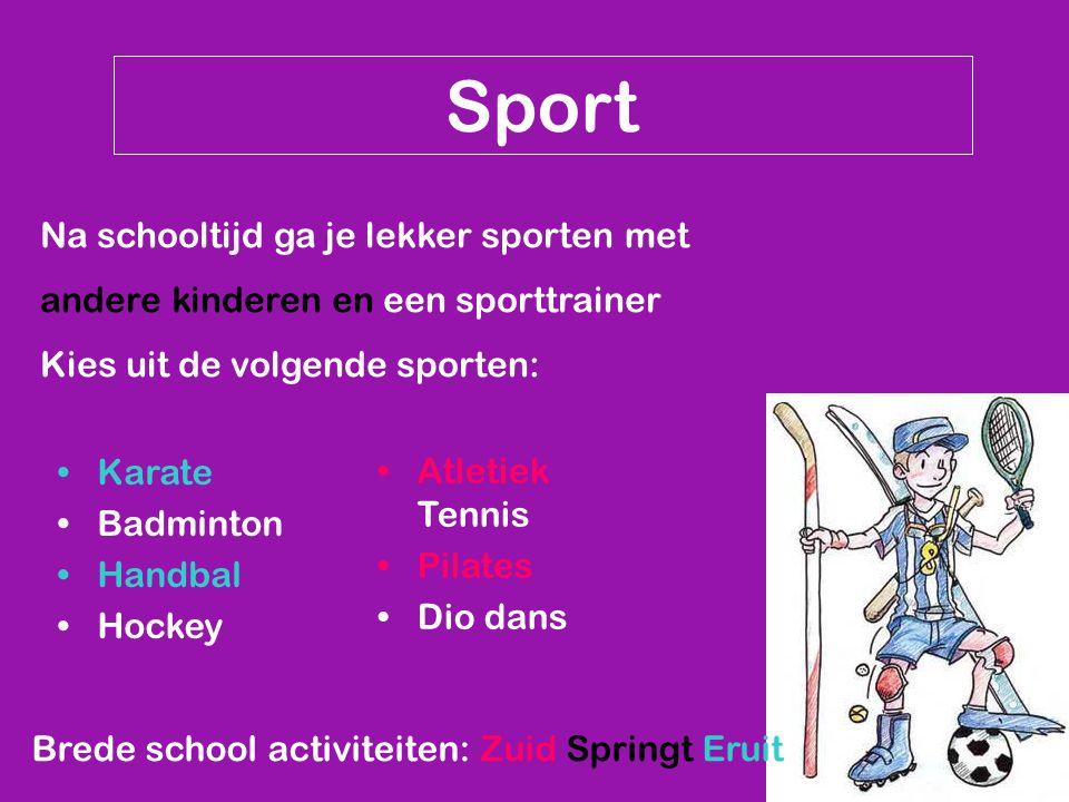 Sport Na schooltijd ga je lekker sporten met andere kinderen en een sporttrainer Kies uit de volgende sporten: Brede school activiteiten: Zuid Springt Eruit Karate Badminton Handbal Hockey Atletiek Tennis Pilates Dio dans