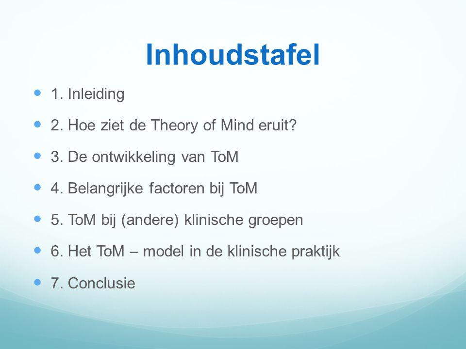 Inhoudstafel 1.Inleiding 2. Hoe ziet de Theory of Mind eruit.