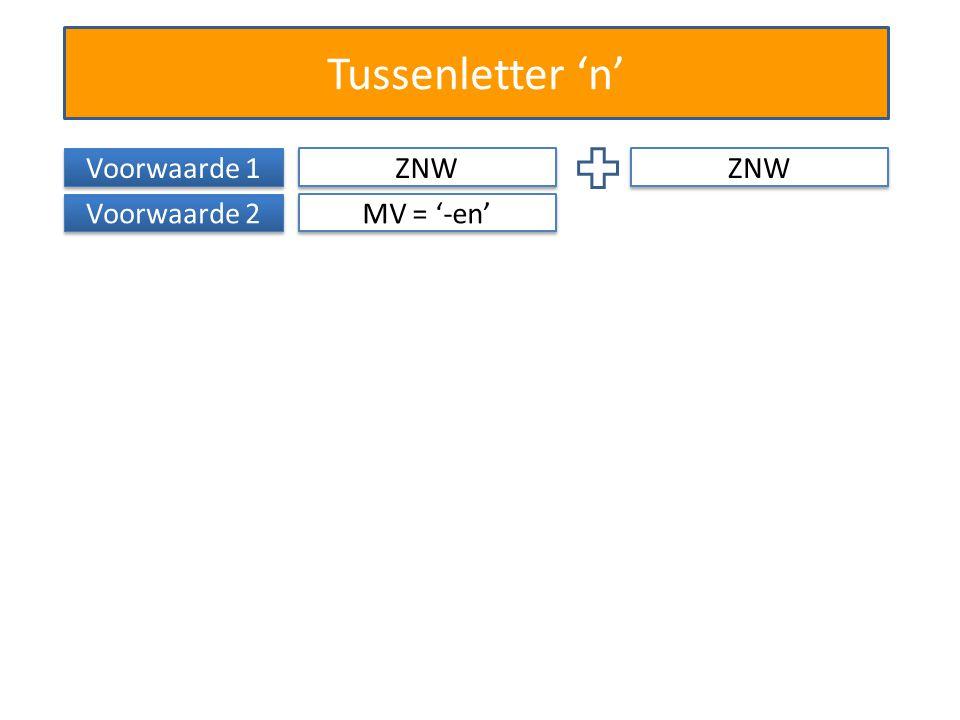 Tussenletter 'n' Voorwaarde 1 ZNW Voorwaarde 2 MV = '-en' ZNW
