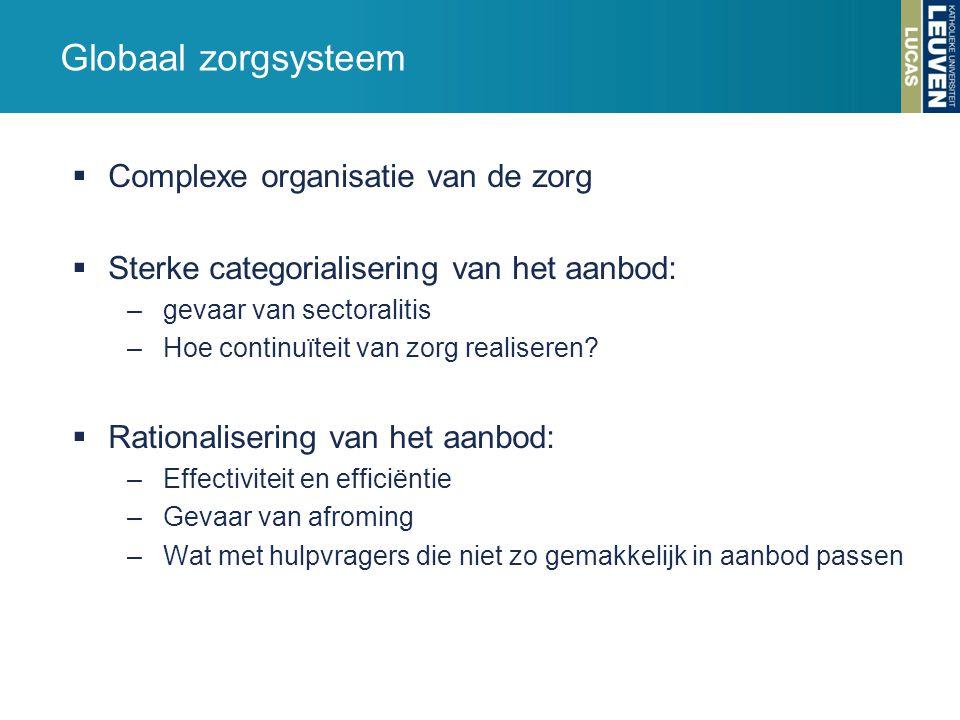 Globaal zorgsysteem  Complexe organisatie van de zorg  Sterke categorialisering van het aanbod: –gevaar van sectoralitis –Hoe continuïteit van zorg