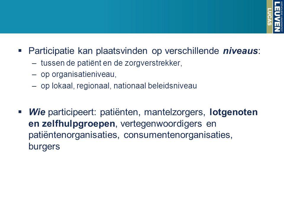  Participatie kan plaatsvinden op verschillende niveaus: –tussen de patiënt en de zorgverstrekker, –op organisatieniveau, –op lokaal, regionaal, nati