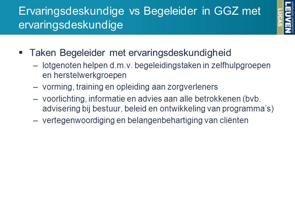 Ervaringsdeskundige vs Begeleider in GGZ met ervaringsdeskundige  Taken Begeleider met ervaringsdeskundigheid –lotgenoten helpen d.m.v. begeleidingst