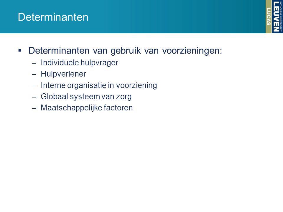 Determinanten  Determinanten van gebruik van voorzieningen: –Individuele hulpvrager –Hulpverlener –Interne organisatie in voorziening –Globaal systee