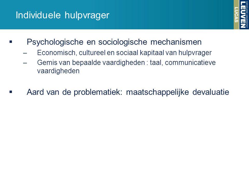 Individuele hulpvrager  Psychologische en sociologische mechanismen –Economisch, cultureel en sociaal kapitaal van hulpvrager –Gemis van bepaalde vaa