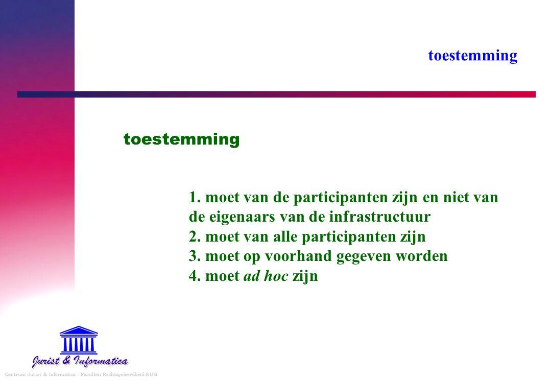 toestemming 1. moet van de participanten zijn en niet van de eigenaars van de infrastructuur 2. moet van alle participanten zijn 3. moet op voorhand g