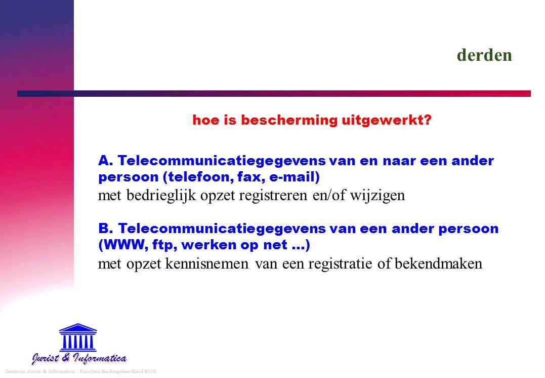 derden hoe is bescherming uitgewerkt? A. Telecommunicatiegegevens van en naar een ander persoon (telefoon, fax, e-mail) met bedrieglijk opzet registre