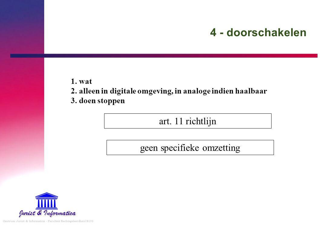 4 - doorschakelen art. 11 richtlijn 1. wat 2. alleen in digitale omgeving, in analoge indien haalbaar 3. doen stoppen geen specifieke omzetting