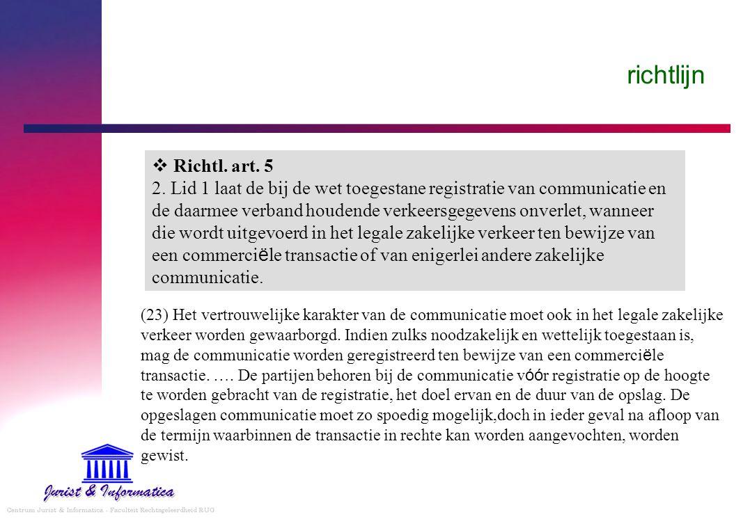 richtlijn  Richtl. art. 5 2. Lid 1 laat de bij de wet toegestane registratie van communicatie en de daarmee verband houdende verkeersgegevens onverle