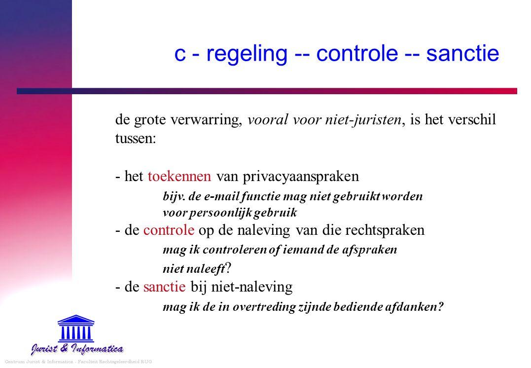 c - regeling -- controle -- sanctie de grote verwarring, vooral voor niet-juristen, is het verschil tussen: - het toekennen van privacyaanspraken bijv