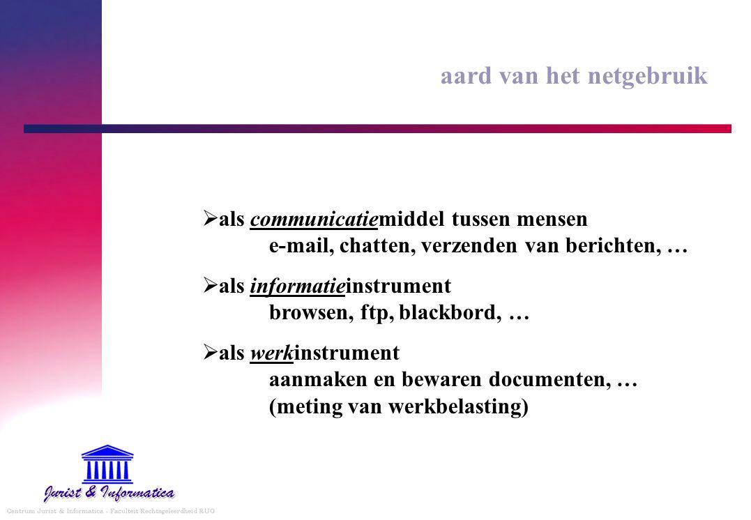 aard van het netgebruik  als communicatiemiddel tussen mensen e-mail, chatten, verzenden van berichten, …  als informatieinstrument browsen, ftp, bl