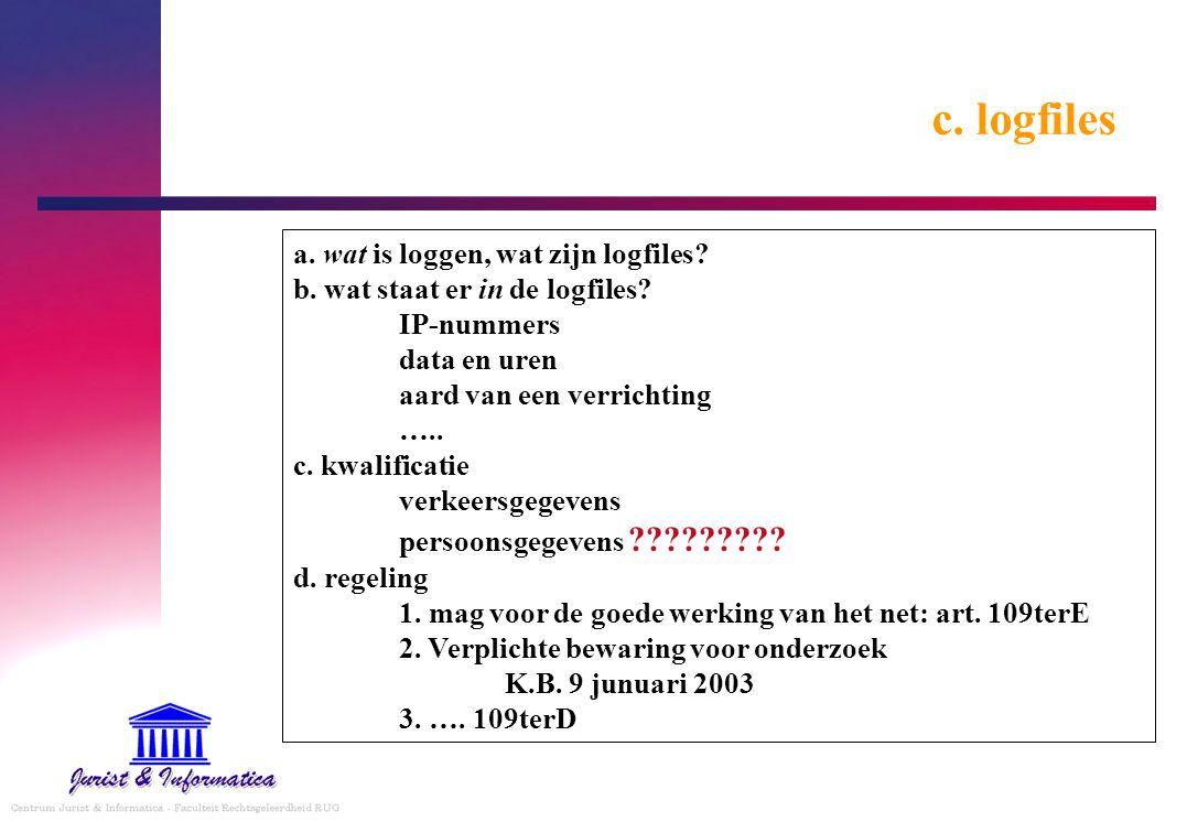 c.logfiles a. wat is loggen, wat zijn logfiles. b.