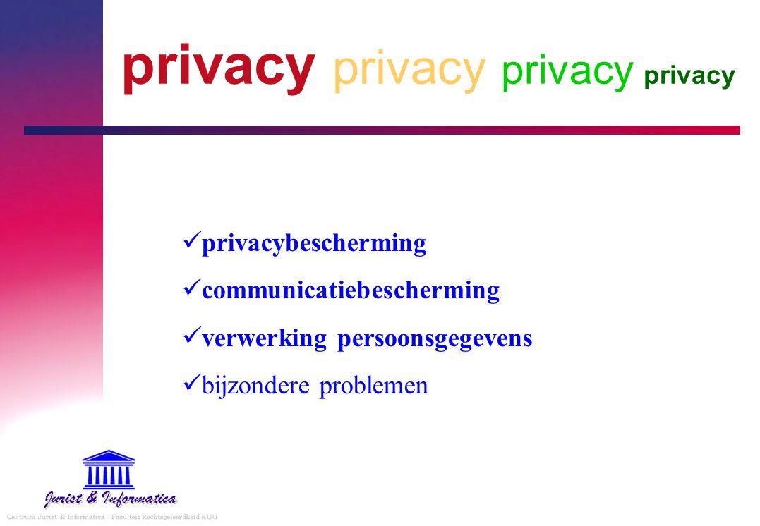privacybescherming communicatiebescherming verwerking persoonsgegevens bijzondere problemen privacy privacy privacy privacy
