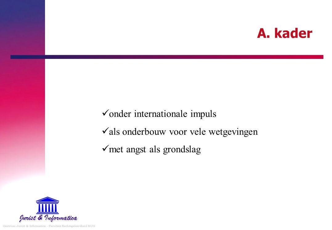 A. kader onder internationale impuls als onderbouw voor vele wetgevingen met angst als grondslag