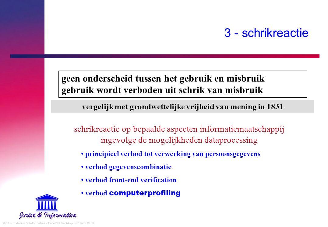 3 - schrikreactie schrikreactie op bepaalde aspecten informatiemaatschappij ingevolge de mogelijkheden dataprocessing principieel verbod tot verwerkin
