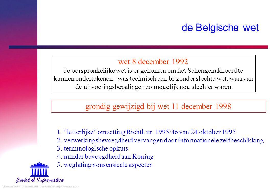 """de Belgische wet 1. """"letterlijke"""" omzetting Richtl. nr. 1995/46 van 24 oktober 1995 2. verwerkingsbevoegdheid vervangen door informationele zelfbeschi"""