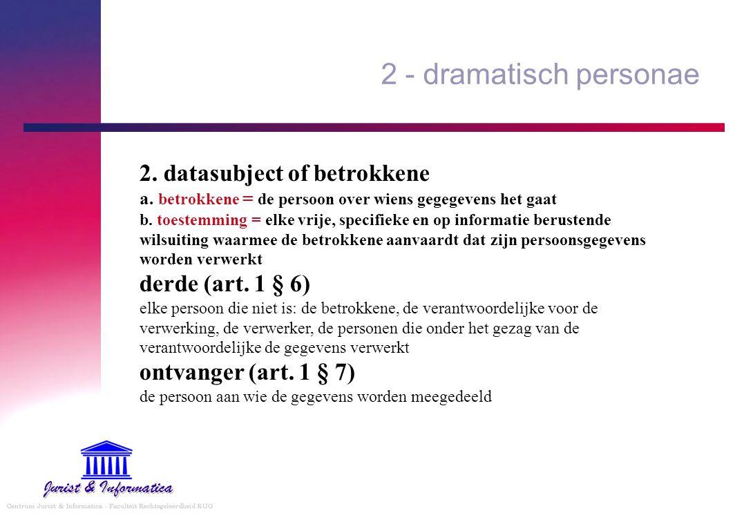 2 - dramatisch personae 2. datasubject of betrokkene a. betrokkene = de persoon over wiens gegegevens het gaat b. toestemming = elke vrije, specifieke