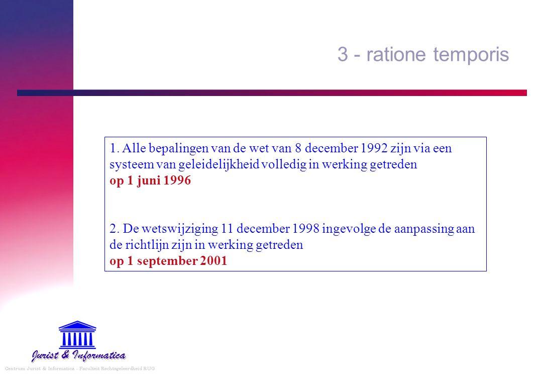 3 - ratione temporis 1. Alle bepalingen van de wet van 8 december 1992 zijn via een systeem van geleidelijkheid volledig in werking getreden op 1 juni
