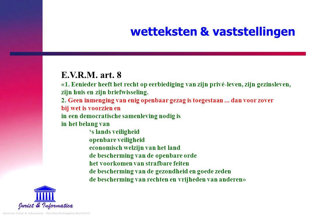 wetteksten & vaststellingen E.V.R.M. art. 8 «1. Eenieder heeft het recht op eerbiediging van zijn privé-leven, zijn gezinsleven, zijn huis en zijn bri