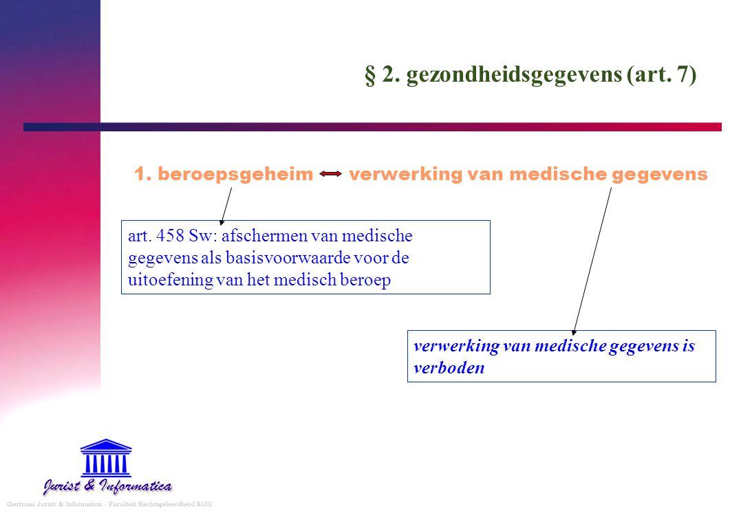 § 2. gezondheidsgegevens (art. 7) 1. beroepsgeheim verwerking van medische gegevens art. 458 Sw: afschermen van medische gegevens als basisvoorwaarde