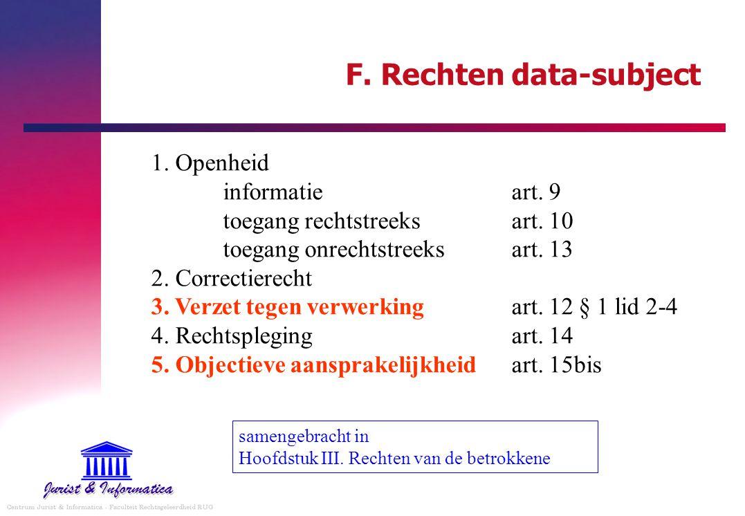 F. Rechten data-subject 1. Openheid informatieart. 9 toegang rechtstreeksart. 10 toegang onrechtstreeksart. 13 2. Correctierecht 3. Verzet tegen verwe