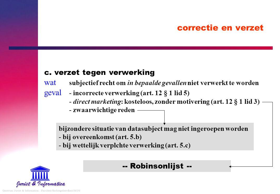 correctie en verzet c. verzet tegen verwerking wat subjectief recht om in bepaalde gevallen niet verwerkt te worden geval - incorrecte verwerking (art