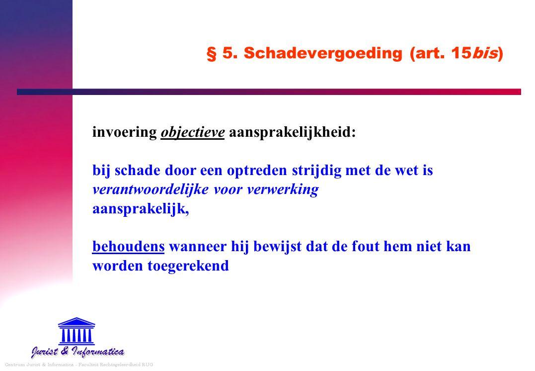 § 5. Schadevergoeding (art. 15bis) invoering objectieve aansprakelijkheid: bij schade door een optreden strijdig met de wet is verantwoordelijke voor