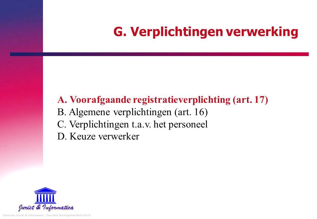 G. Verplichtingen verwerking A. Voorafgaande registratieverplichting (art. 17) B. Algemene verplichtingen (art. 16) C. Verplichtingen t.a.v. het perso